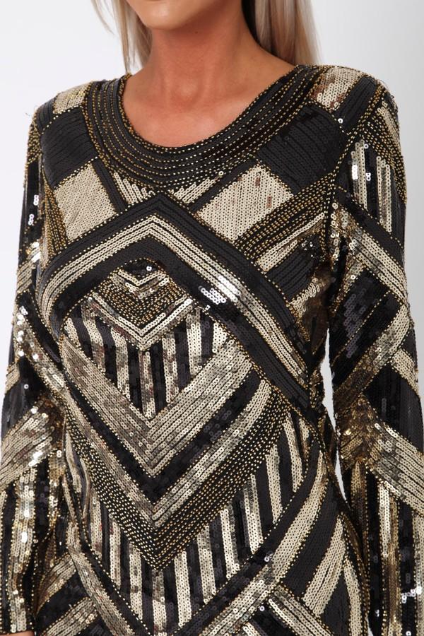 Havana Sequin Mini Long Sleeve Shift Dress in Black & Gold