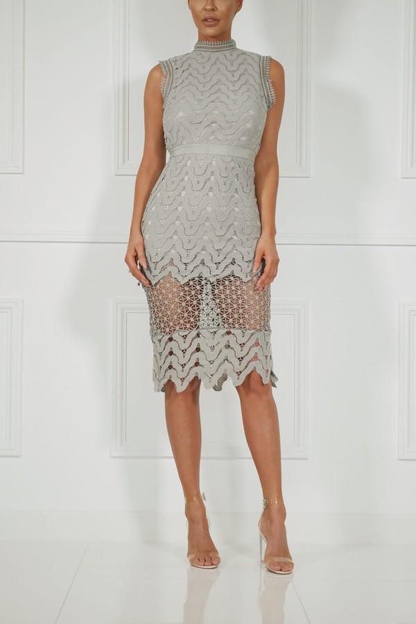 Hazel Lace Midi Dress in Grey