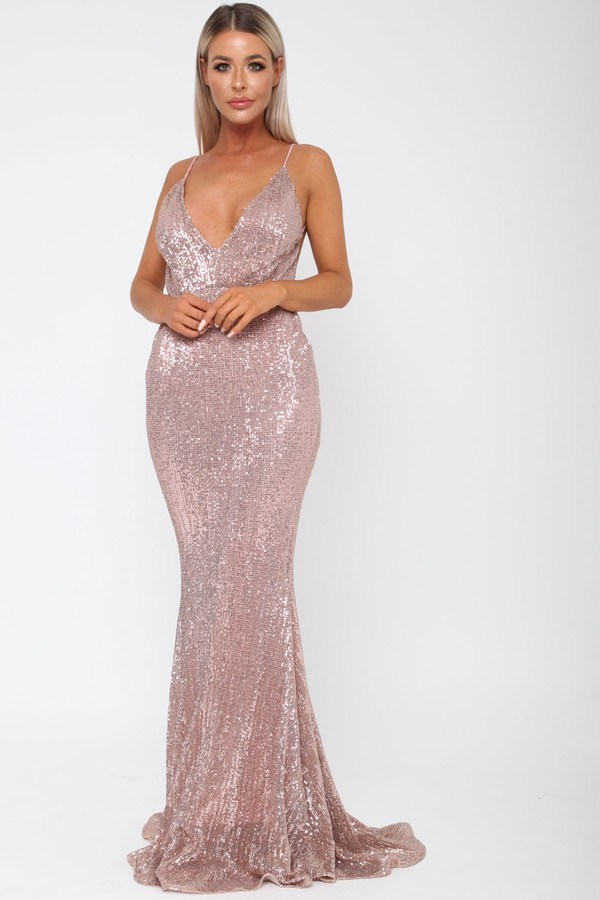 Khan Long Gown in Rose Gold