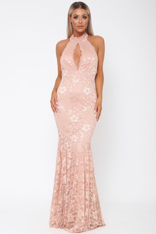 Lace Long Keyhole Gown in Blush