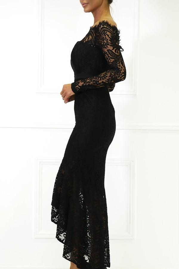 Madina Lace Bardot Fishtail Dress in Black