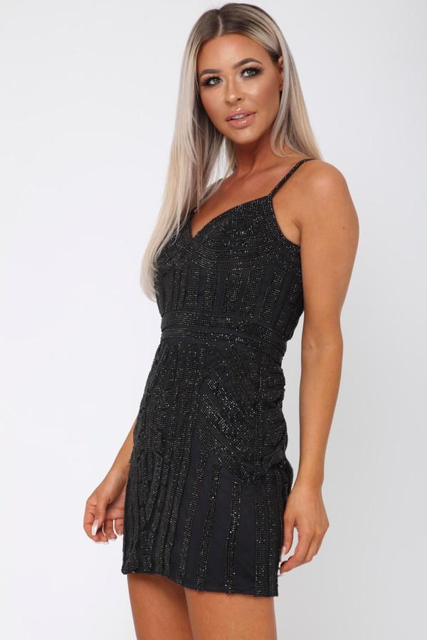 Gatsby Sequin Mini Dress in Black