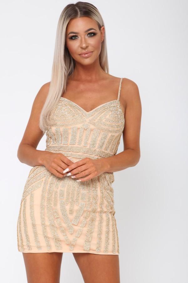 Short Gatsby Sequin Mini Dress in Gold