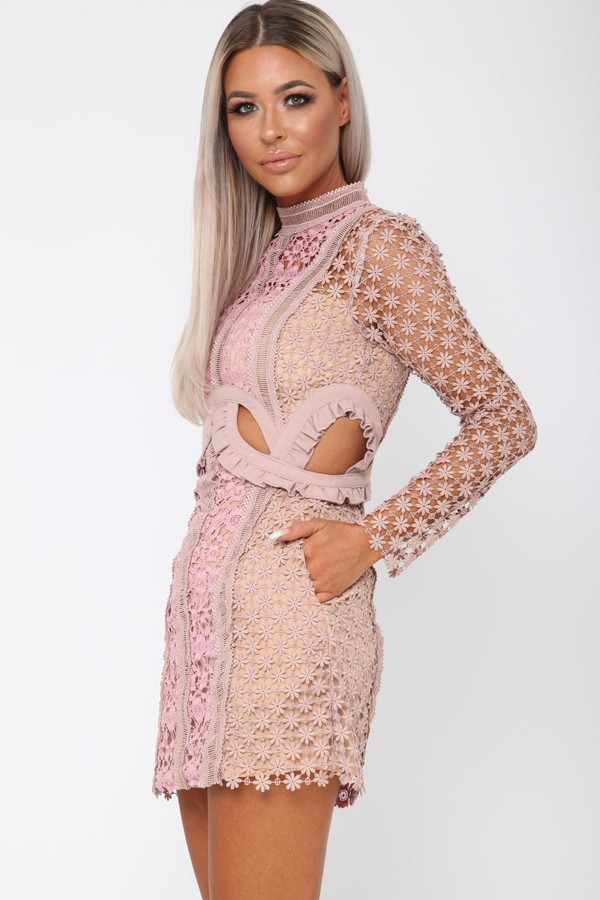 Stormi Cutout Mini Dress in Nude
