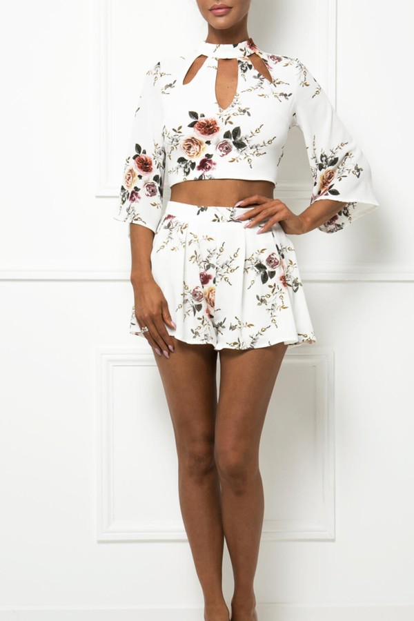 Thea Floral Two-Piece in Cream
