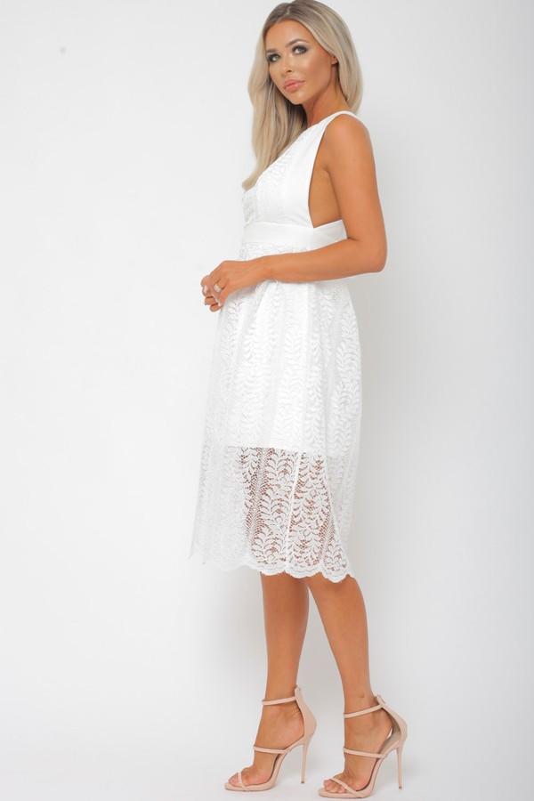 Winnie Lace Midi Dress in White